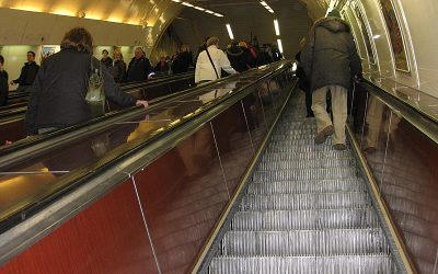 Fast-moving Escalators in Metro Station Namesti Miru